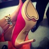 shoes,heels,hot pink,heart,high heels,stilettos