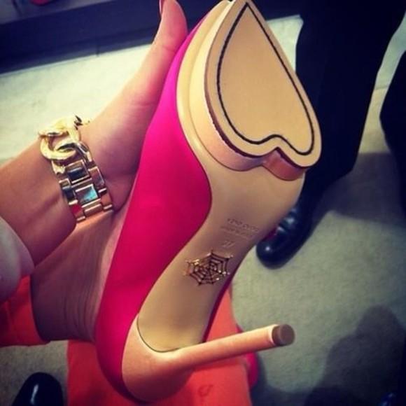 heart hot pink high heels stilettos shoes