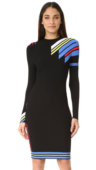 dress long sleeve dress long black multicolor