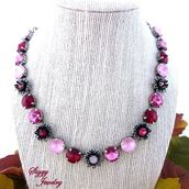 jewels,siggy jewelry,swarovski,necklace,jewelry,statement necklace,pink,red,valentines day gift idea,outfit,style,fashion,sparkle,bling,flowers,glamour,fashionista,streetstyle,etsy,wedding jewelry,cute,trendy,ooak,shop local,boutique envy