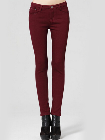 Claret red mid waist warm skinny pants