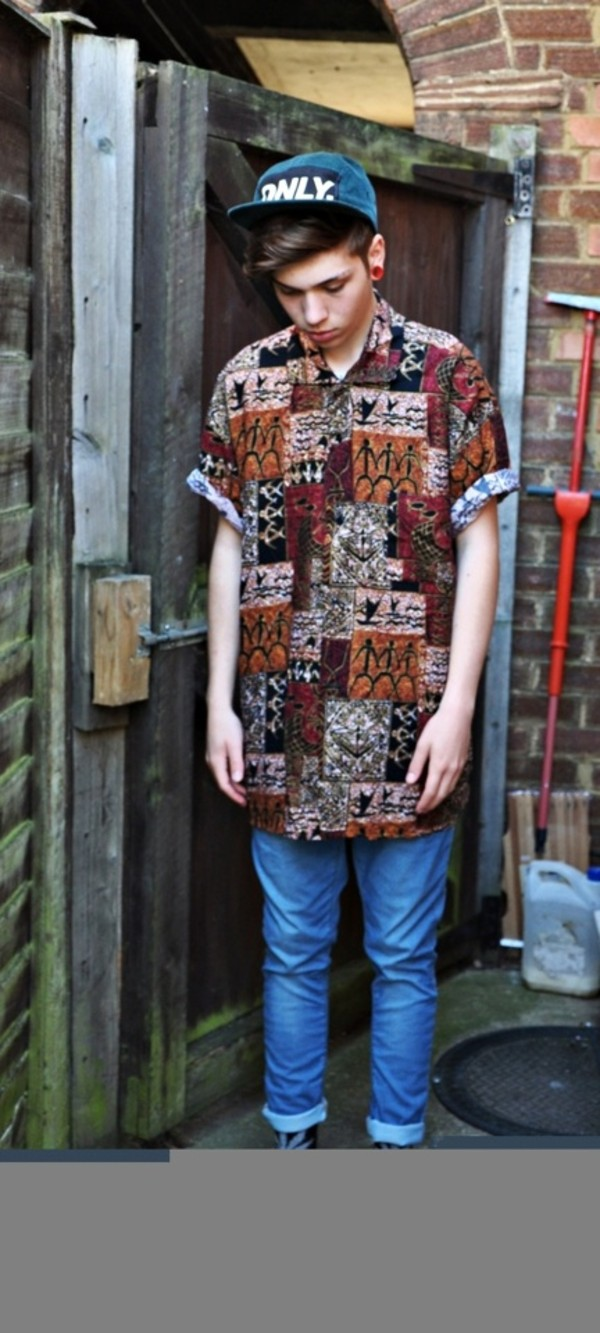 blouse menswear menswear mens shirt dress shirt hipster pattern cute brown vintage. Black Bedroom Furniture Sets. Home Design Ideas