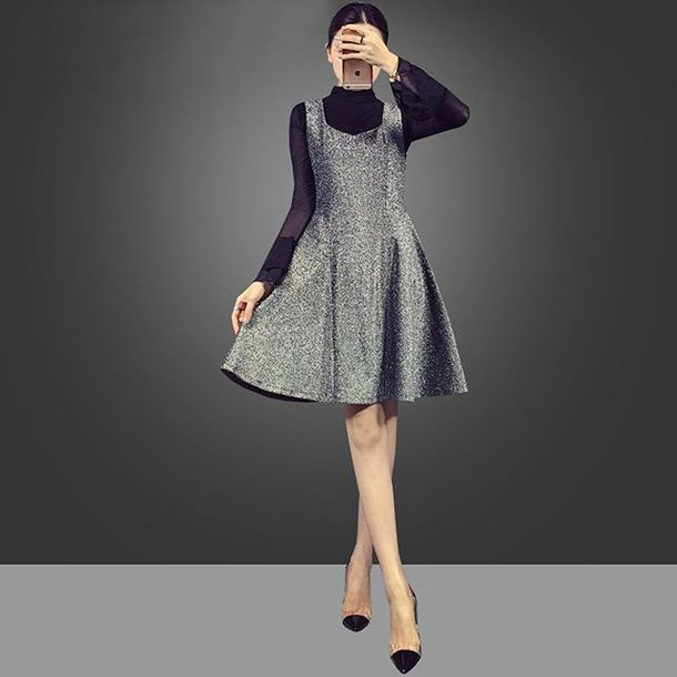 dress black dress shiny dress
