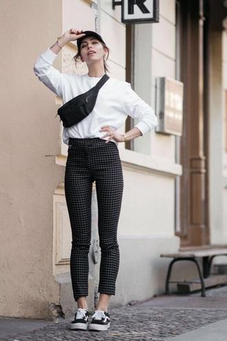 shoes black sneakers vans top white top pants checkered checkered pants sneakers sweatshirt cap
