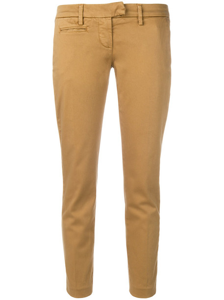 DONDUP cropped women spandex fit nude cotton pants