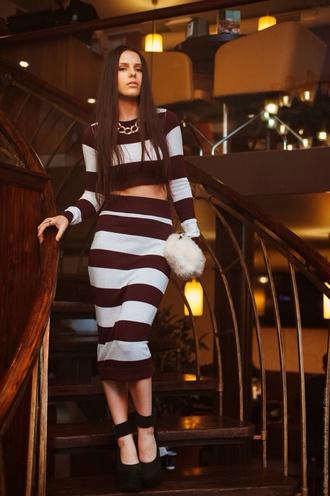 dress crop top and skirt set midi skirt black and white stripes pencil skirt