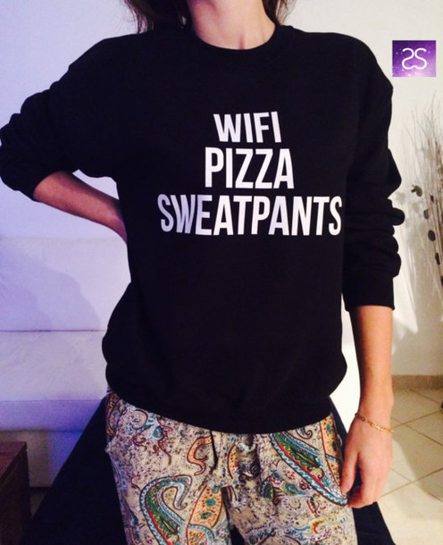 t-shirt sweatshirt sweater pants black sweater pizza