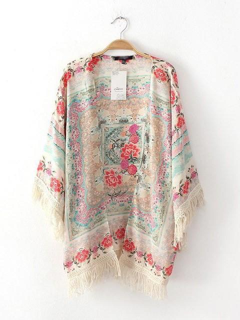 Sleeved printed mixed colors fringed bat sleeve shawl kimono cardigan