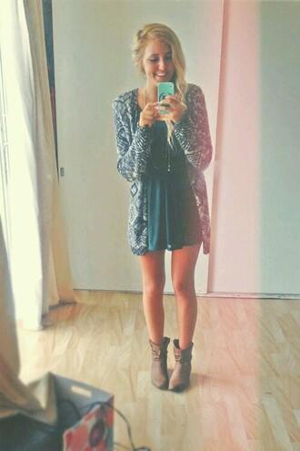 dress teal dress casual dress sweater cardigan
