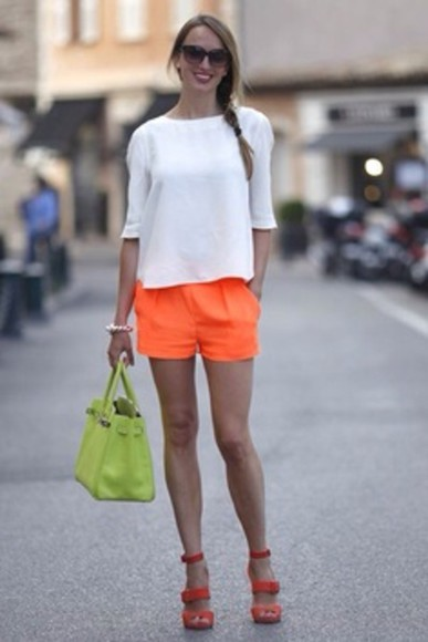 orange shorts shorts fluro sweater bag