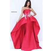dress,sherri hill,fit and flare dress,red dress,strapless,red carpet dress,prom dress