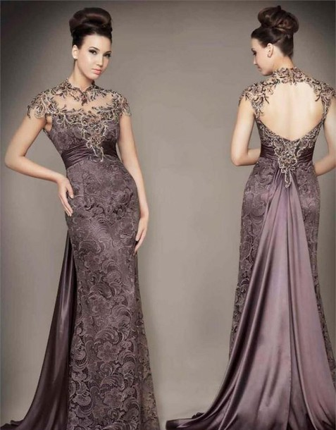 Dress: lavender, lace, purple, gown, formal, backless, designer ...