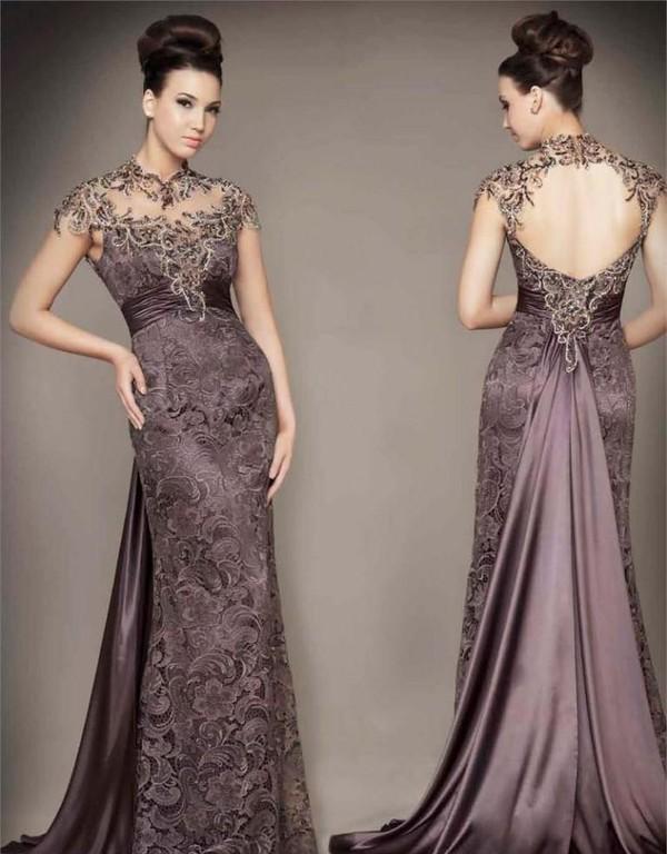 dress, lavender, lace, purple, gown, formal, backless, designer ...