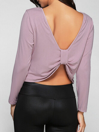 top lilac long sleeves crop tops girly open back summer zaful
