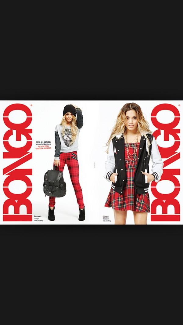 vanessa hudgens bongo photoshoot hsm red checkered shirt white black grey dress pants