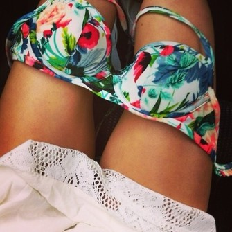 swimwear floral, turquoise, pink, blue, bra summer floral coloured bright bikini flowers holiday sea pattern print leaves trees palm trees beach pool swim color block color block top floral, swimwear, bathing suit, swim, yellow, love swim top bra top floral bra floral swimwear bra color