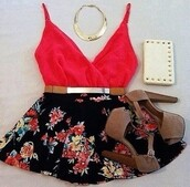 skirt,clothes,top,shoes,flowers,red,black