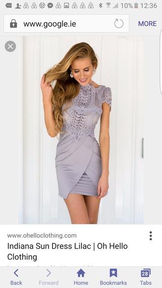 dress lilac dress cocktail dress grey color crochet dress