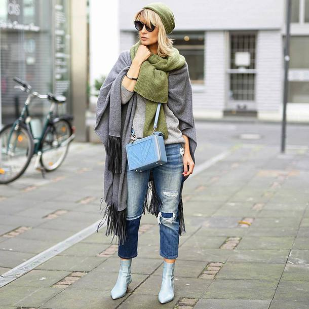 shoes tumblr boots ankle boots blue boots denim jeans blue jeans ripped jeans scarf blanket scarf beanie sunglasses bag blue bag