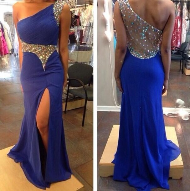 Dress Sapphire Jewels See Through Long Dress High