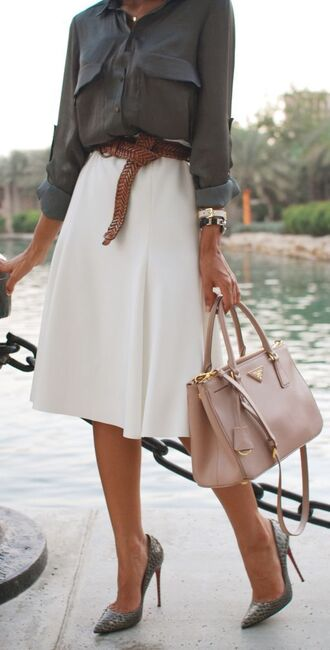 blouse grey pockets button down longsleeve skirt belt purse heels white modern gray watch necklace dark grey