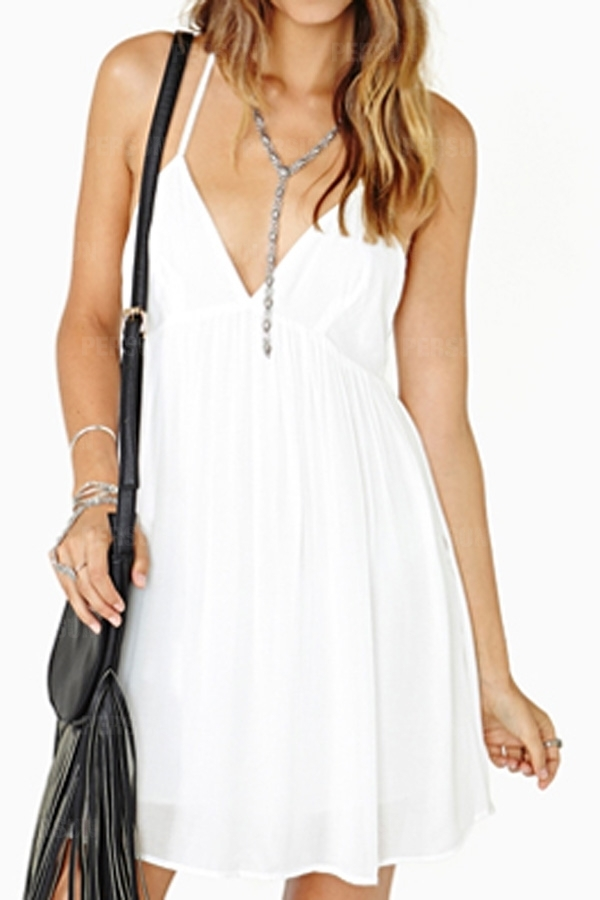 Suspender Pleats Dress in White [FXBI00517] - PersunMall.com