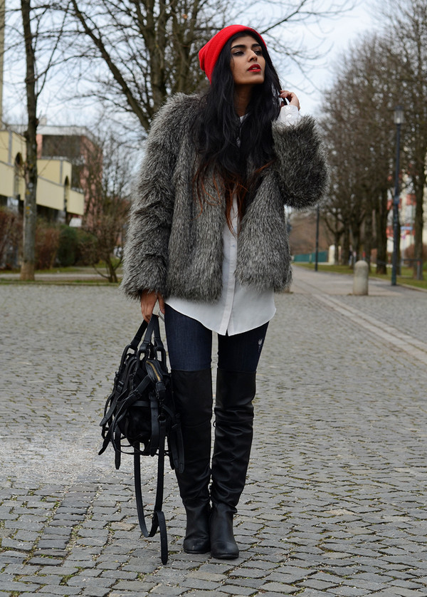 she wears fashion blouse coat jeans shoes bag hat