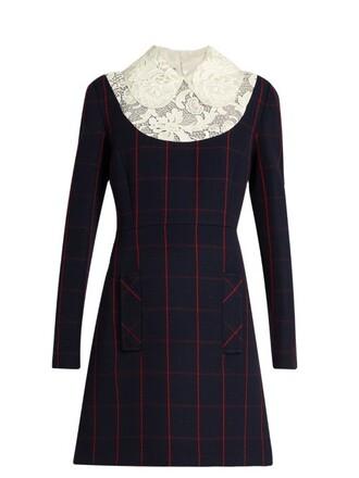 dress lace wool blue