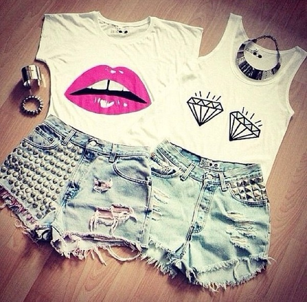 shorts shirt tank top diamonds
