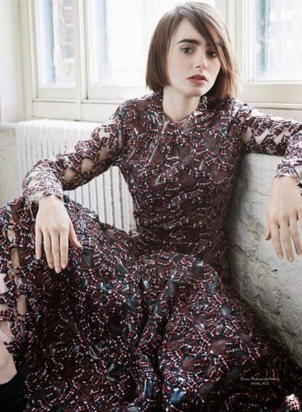 dress lily collins lace