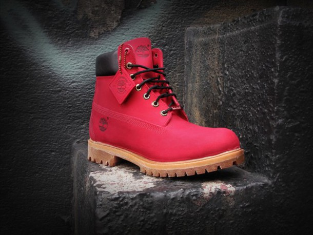 shoes red timberlands