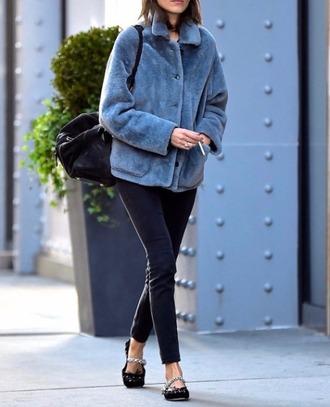 jacket tumblr fur jacket fluffy grey jacket denim jeans black jeans ballet flats black flats flats bag black bag fall outfits streetstyle grey fur jacket