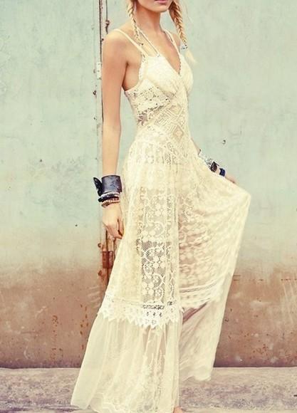 boho gypsy hippie dress maxi lace cream white dress lace dress braids spaghetti strap halter dress halter white bag