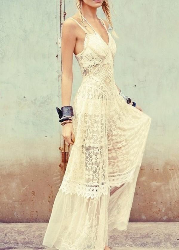 dress maxi lace cream hipster wedding white dress lace dress boho boho dress braid spaghetti strap halter dress halter neck white bag sun summer maxi dress laced dress dentelle bohemian gypsy hippie