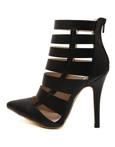 Booties black beige pointed toe high heels sandals gladiator ankle