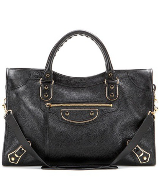 Balenciaga Classic Metallic Edge City Leather Tote in black