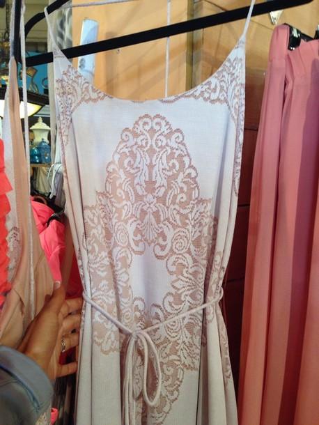 dress lace T-Back coral peppermint maxi long leg slits vintage