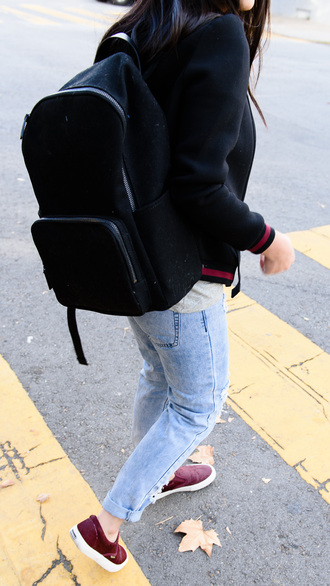 back to school black backpack baseball jacket blue jeans cuffed jeans ripped jeans slip on shoes burgundy shoes light blue jeans fall outfits