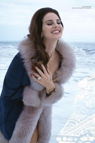 coat fur navy lana del rey