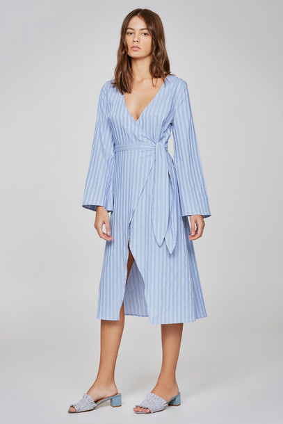 THE FIFTH BARBADOS STRIPE LONG SLEEVE WRAP DRESS blue w white