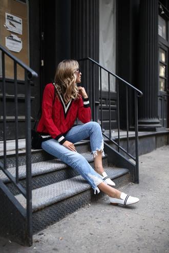 memorandum blogger pants shoes jacket sweater dress red sweater loafers shoulder bag spring outfits