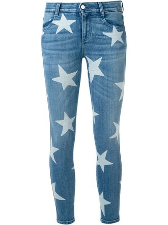 jeans women boyfriend cotton print blue