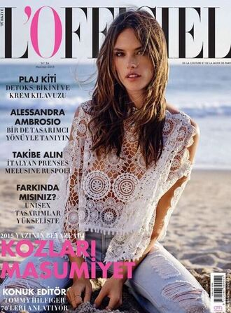blouse top lace top lace boho alessandra ambrosio editorial