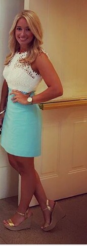 dress,blue and white,mini dress,lace dress