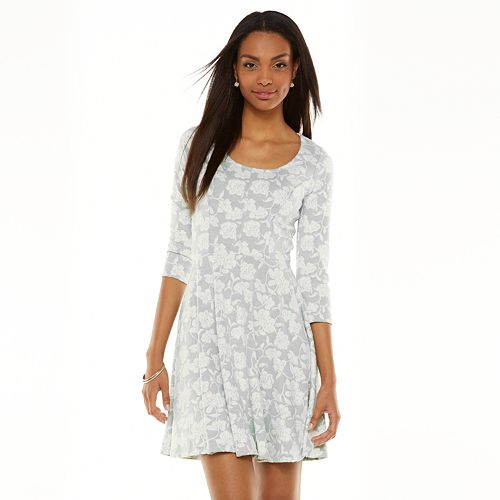 Lc lauren conrad floral jacquard fit & flare dress