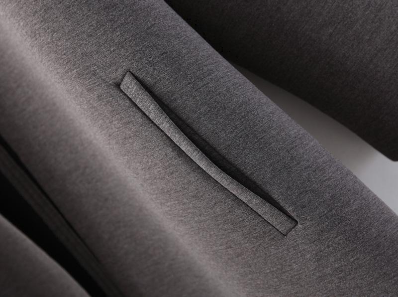 Grey long sleeve pockets loose coat