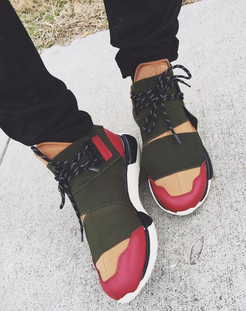 shoes y-3 sneakers high top sneakers olive green mulit-color