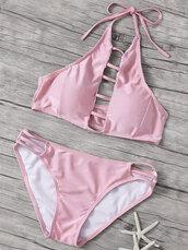 swimwear,pink,bikini,light pink,fashion,style,beach,summer,cute,girly,zaful