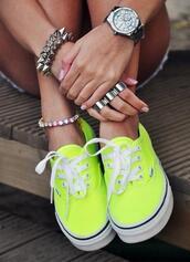 shoes,neon,vans,neon vans,neon yellow vans light high pro,jewels,neon green,swag,yellow,style