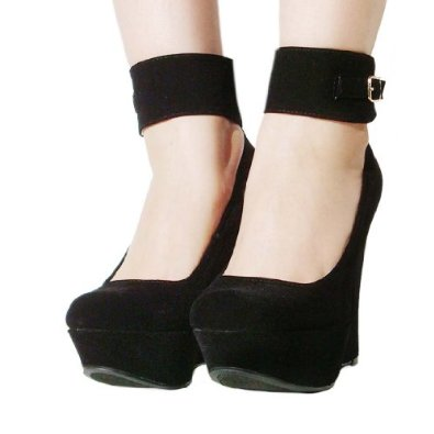 com: Women's Qupid Black Ankle Strap Platform Wedge Sandal ...